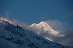 Evening return from the Bendolla ski station along the Route des Amis de la Nature