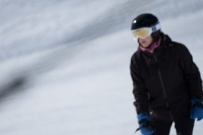 Antoinette is a blur as she glides easily down a slope (blurred due to camera and user error, not speed :)